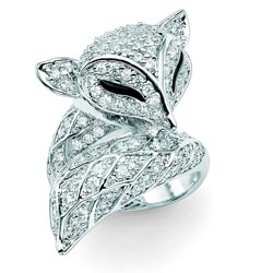 Lillith Star Silvertone Clear Cubic Zirconia Fox Ring