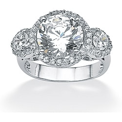 PalmBeach CZ Platinum over Silver Clear Prong-set Cubic Zirconia Ring Glam CZ