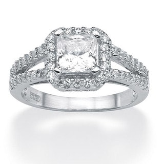 PalmBeach CZ Platinum over Sterling Silver Clear Cubic Zirconia Ring Classic CZ