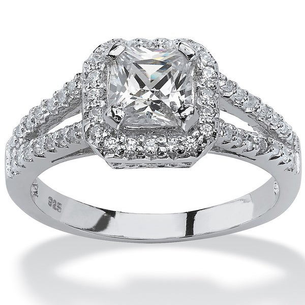 PalmBeach 1.63 TCW Princess-Cut Cubic Zirconia Engagement Ring in Platinum over Sterling Silver Classic CZ