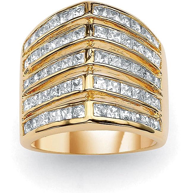 "PalmBeach 2.40 TCW Princess-Cut Cubic Zirconia 14k Gold-Plated ""V"" Anniversary Band Glam CZ"