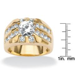 PalmBeach CZ Goldtone Clear Cubic Zirconia Men's Ring