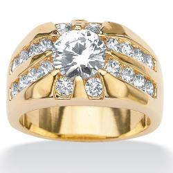 PalmBeach Men's 2.95 TCW Round Cubic Zirconia RIng in Gold Tone Sizes 9-16