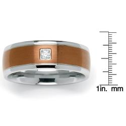 Neno Buscotti Stainless Steel Men's Brown-plated Clear Cubic Zirconia Ring
