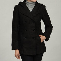 Trendz Women's Charcoal Wool-blend Hooded Peacoat