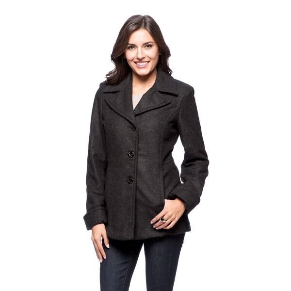 Trendz Women's Wool-blend Notched Collar Coat
