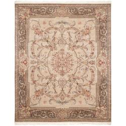 Asian Hand-knotted Royal Kerman Beige and Tan Wool Rug (8' x 10')