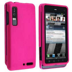 Hot Pink Snap-on Rubber Coated Case for Motorola Droid 3 XT862