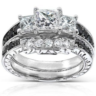 Annello 14k White Gold 1 3/5ct TDW Black and White Diamond Bridal Ring Set (H-I, I1-I2) with Bonus Item
