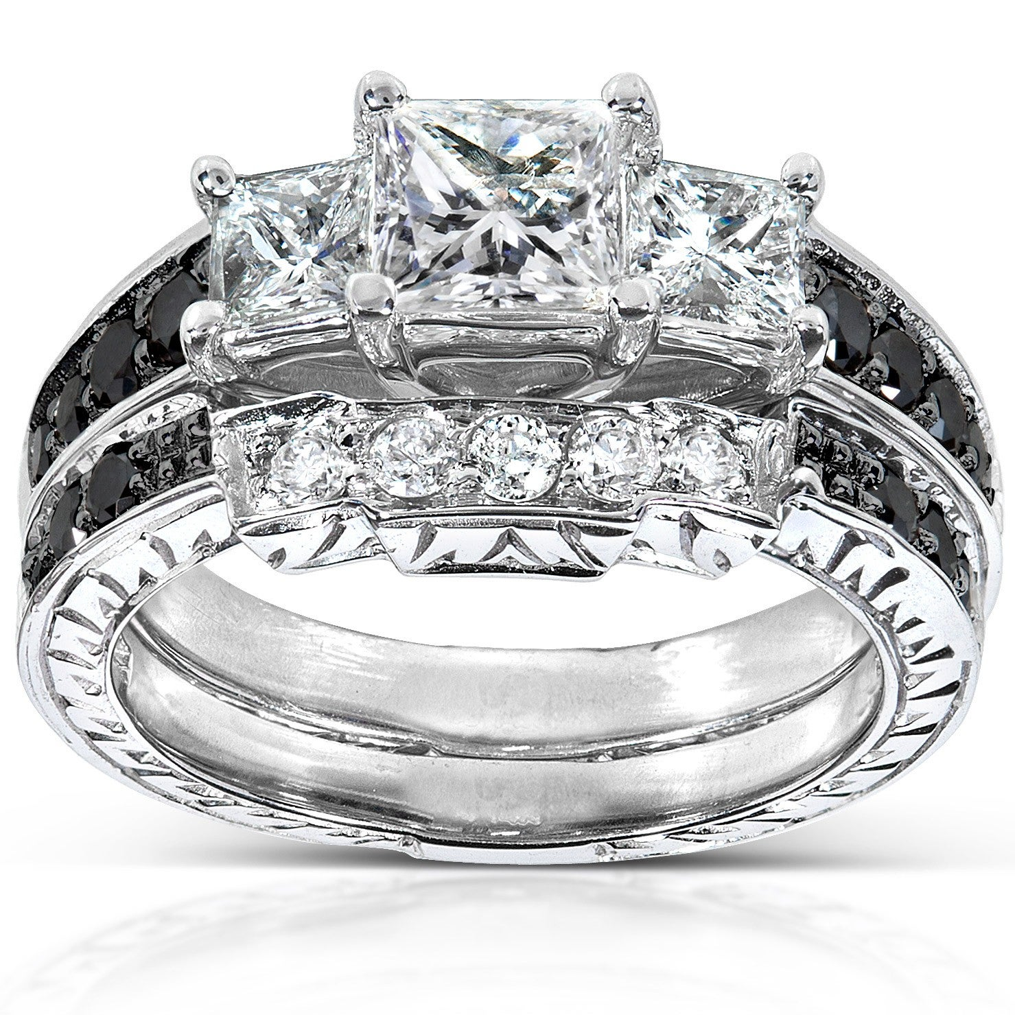 Annello 14k White Gold 1 3/5ct TDW Black and White Diamond ...