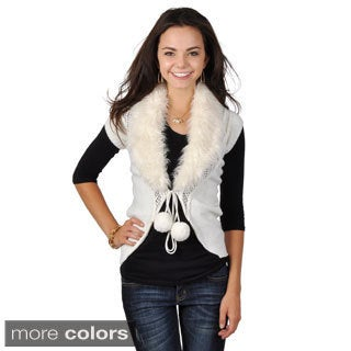 Hailey Jeans Co. Juniors Faux Fur Collar Tie-front Sweater