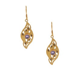 Gold Overlay Amethyst Leaf Earrings (Nepal)