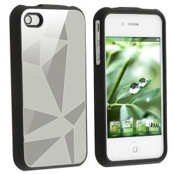 Silver Triangle Aluminum Case/ Screen Protector for Apple iPhone 4