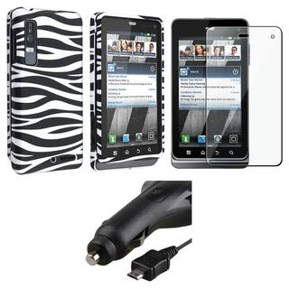 Zebra Case/ Screen Protector/ Car Charger for Motorola Droid 3 XT862