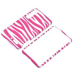 Rubber Coated Pink/ White Zebra Case for Motorola Droid 3 XT862