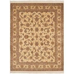 Asian Hand-Knotted Bordered Royal Kerman Ivory Wool Rug (6' x 9')
