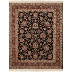 Asian Hand-knotted Royal Kerman Black and Red Wool Rug (6' x 9')