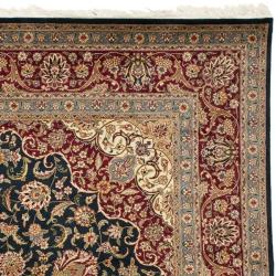 Asian Hand-knotted Royal Kerman Navy and Red Wool Rug (6' x 9')