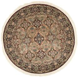 Asian Hand-knotted Royal Kerman Multicolor Wool Rug (6' Round)