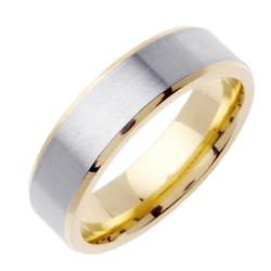 14k Two-tone Gold Men's Brushed Wedding Band