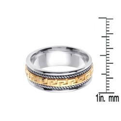 14k Two-tone Gold Men's Greek Key Design Wedding Band