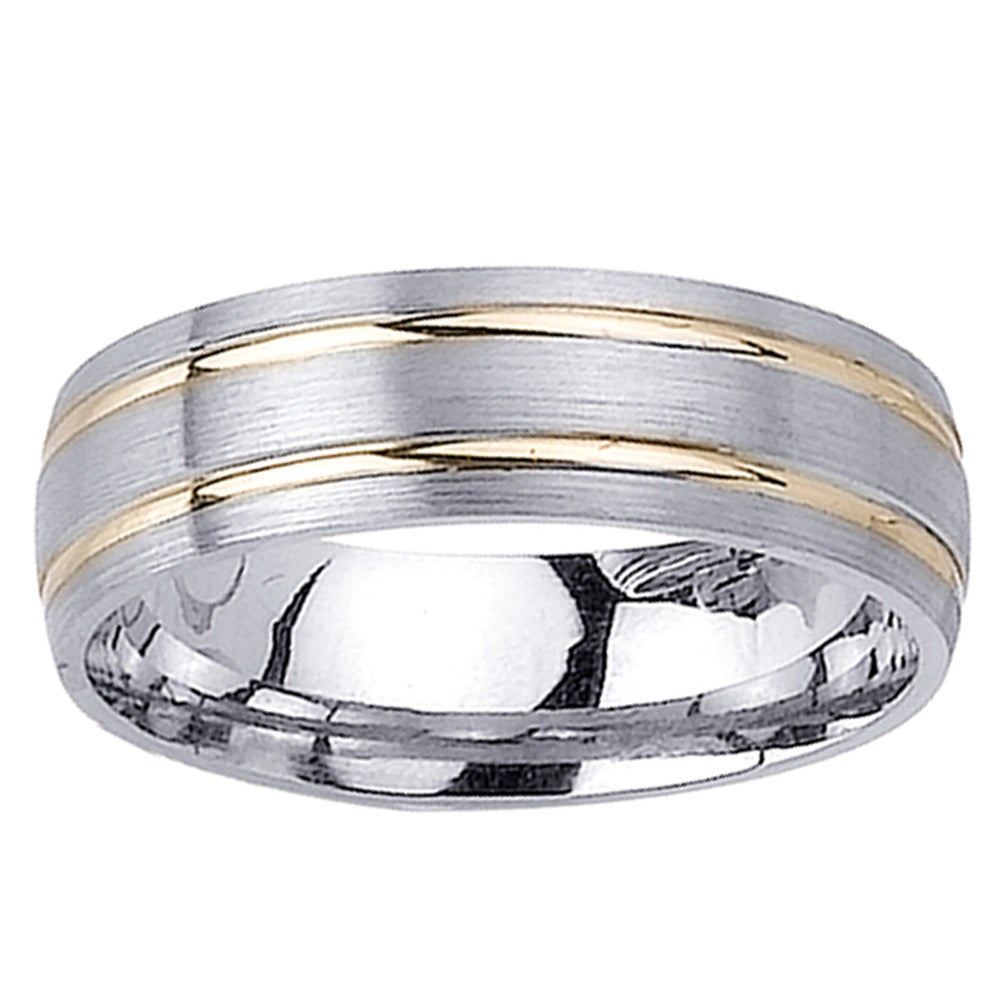 14k Two tone Gold Men s Double Groove Wedding Band Overstock