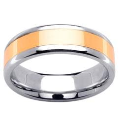 14k Two-tone Gold Men's Polished Wedding Band