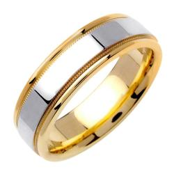 14k Two-tone Gold Men's High-polished Milligrain Wedding Band