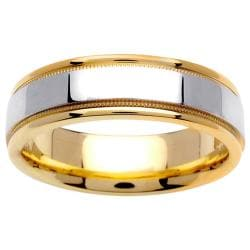 14k Two-tone Gold Men's Milligrain Wedding Band