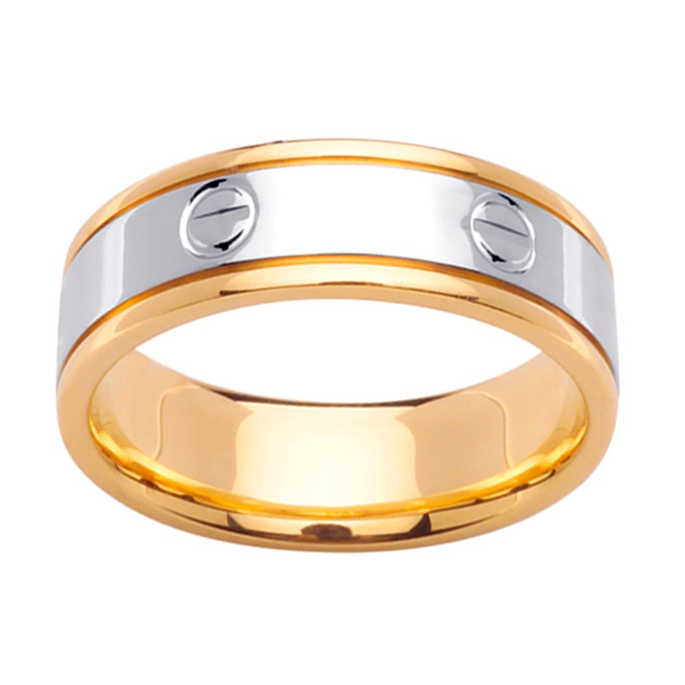 14k Two-tone Gold Men's Screw Design Wedding Band