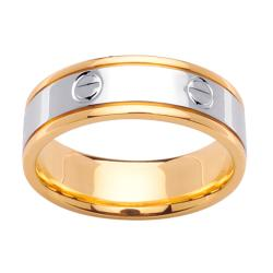 14k Two-tone Gold Men's Screw Design Wedding Band