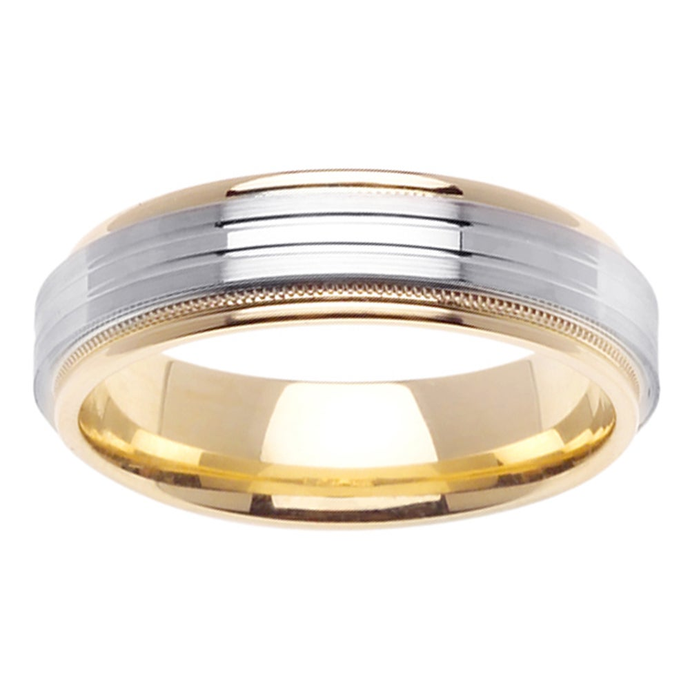 14k Two-tone Gold Men's Grooved Milligrain Wedding Band