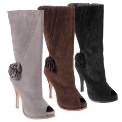 Journee Collection Women's 'Versace-6' High Heel Peep Toe Boots