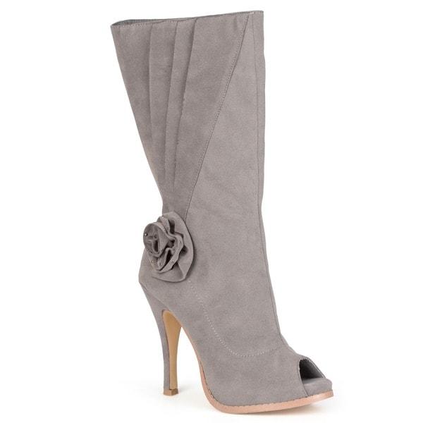 Journee Collection Women's 'Versace-6' Mid-Calf High Heel Peep Toe Boot