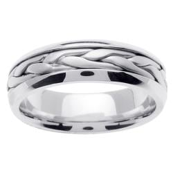 14k White Gold Men's Braided Wedding Band