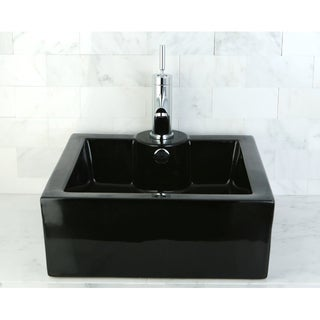 Black Vitreous China Table Mount Bathroom Sink