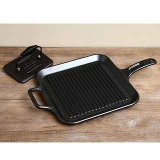 Lodge Pro-Logic 12-inch Square Grill Pan with Grill Press