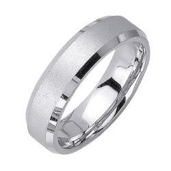 14k White Gold Men's Satin Wedding Band