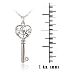 DB Designs Sterling Silver Diamond Accent 'Love' Heart Key Necklace