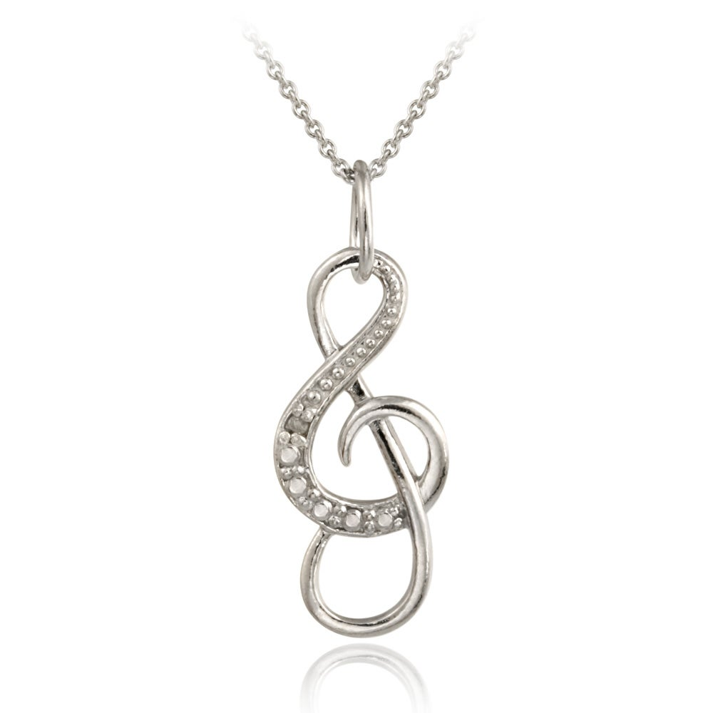 DB Designs Sterling Silver Diamond Accent Musical Note Necklace