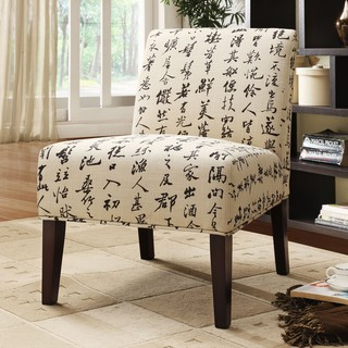 Decor Chinese Script Linen Lounger Chair