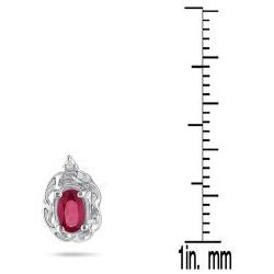 10k White Gold Ruby and Diamond Accent Earrings
