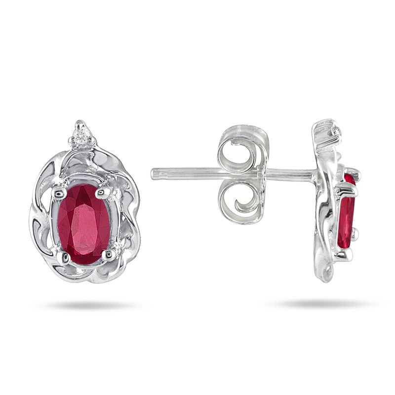Marquee Jewels 10k White Gold Ruby and Diamond Accent Earrings