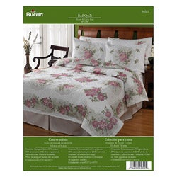 Bucilla Roses and Lace Fan Quilt Stamped Cross Stitch Kit
