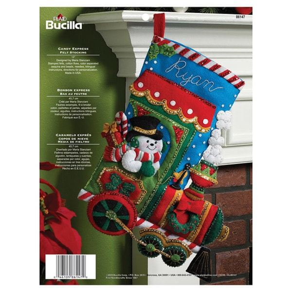 Bucilla Candy Express 16-inch Stocking Stamped Felt Applique Kit