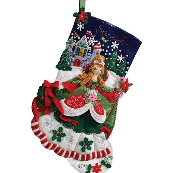Princess 18-inch Christmas Stocking Complete Felt Applique Kit