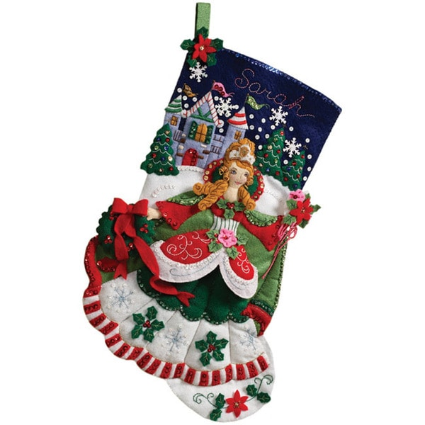 Princess 18-inch Christmas Stocking Complete Felt Applique Kit
