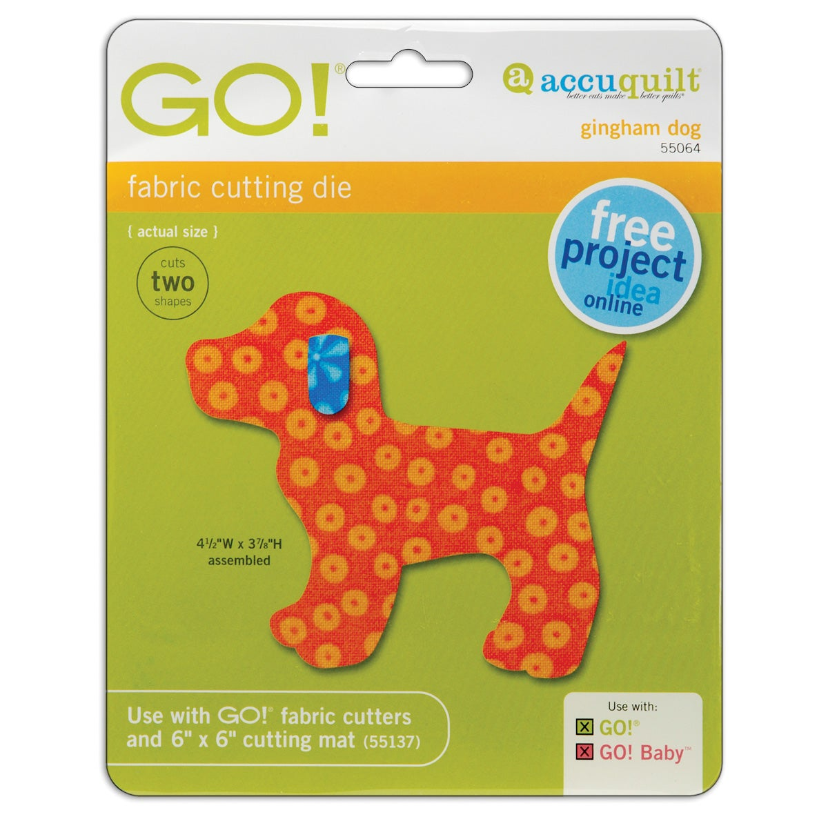 Accuquilt GO! Fabric Gingham Dog-shaped Cutting Die (Pack of Two)