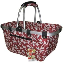 JanetBasket Red Floral Large Aluminum/Canvas Basket
