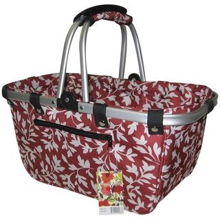 JanetBasket Red Floral Large Aluminum/Canvas Basket